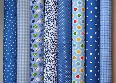 8 x BLUE POLY COTTON FABRIC BUNDLE REMNANTS SQUARES SCRAPS BUNTING SEWING CRAFT