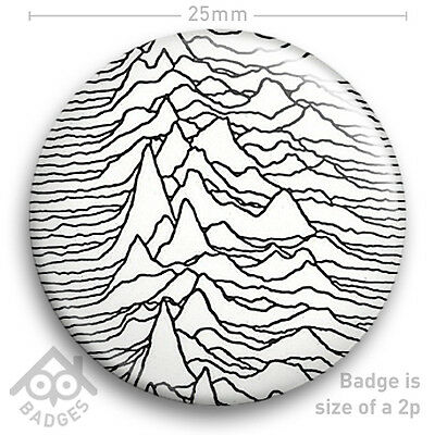 """Joy Division UNKNOWN PLEASURES - Ian Curtis Factory Records Badge 25mm 1"""" NEW"""