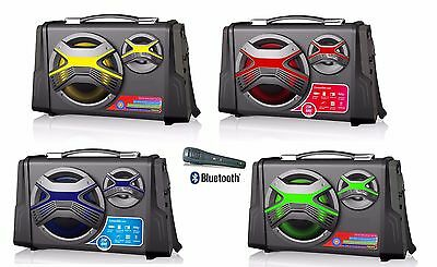 Altavoz Portatil Con Karaoke Bluetooth Usb Sd Radio Altavoces Colores Microfono