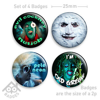 """MIGHTY BOOSH - MOON, HITCHER, OLD GREGG 1"""" Badge - Set of 4 x 25mm Badges"""