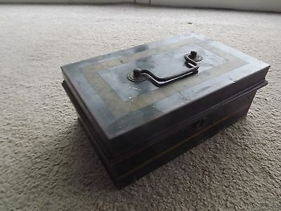 Antique 1950S Cash Box Fitted Interior No Key 9X5.5X3.5 In