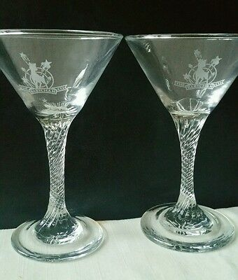 Pair Of Vintage Retro Etched Babycham Cocktail Glass, Twisted Stem, Etched Logo