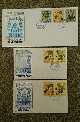 1981 Royal Wedding first day covers Guyana 3 variations