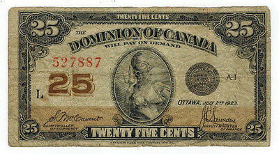 1923 Canada 25 Cents Banknote, P#11b
