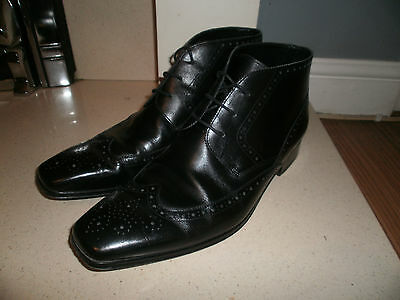 """John White Black Leather Brogue Chelsea/Ankle Boots Size 11 """"excellent"""""""