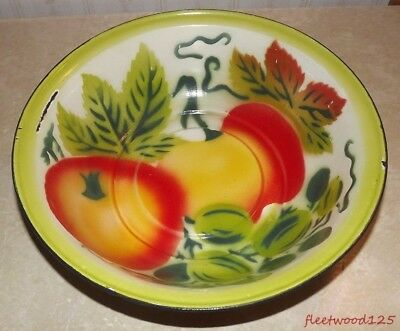 "Vintage Enamel / Granite Ware Bowl Fruit Designs - 12.5"" / Metal"