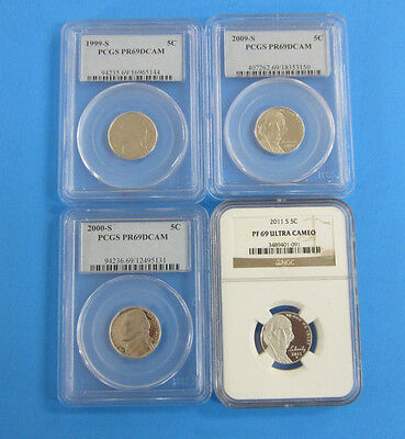 4 Graded Jefferson Nickels 1999 S, 2000 S, 2009 S, 2011 S -- Free Shipping *