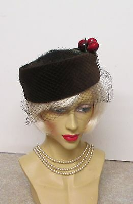 Ladies Original Vintage 1940S//50S  Pill Box Hat With Face Net And Cherries