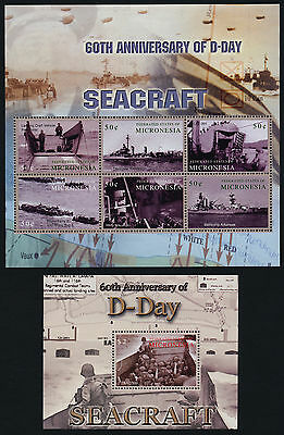 Micronesia 591-2 MNH D-Day, WWII, Seacraft, Map