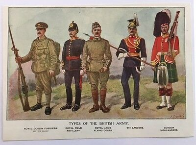 "Set of 8 Vintage Military prints. ""Types of"" Uniforms by R Simkins"