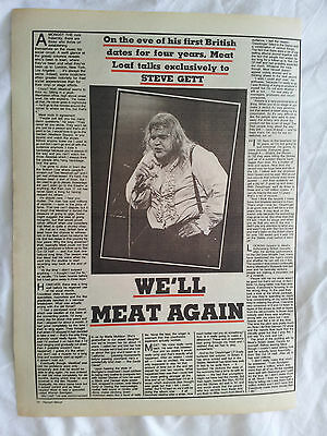 Meat Loaf-Original 1 Page Interview N Pic-Boomtown Rats-Half Page Advert V Tour