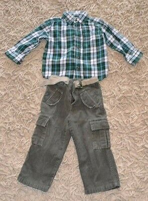 Toddler Boy Outfit-Size 2T-EUC-Lot of 3 Items (Shirt,Belt and Pants)