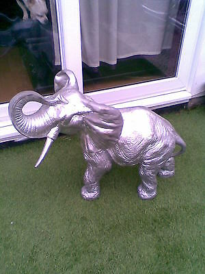 Indoor/Outdoor/Garden Large Elephant Statue Resin silver Colour