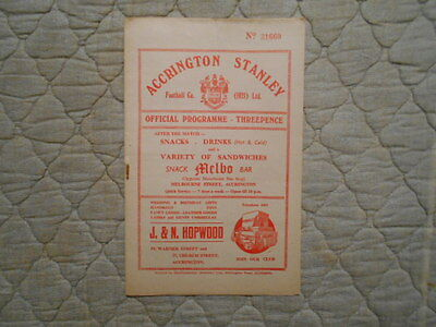 Accrington Stanley V Oldham Third Division North Match Programme March 1956