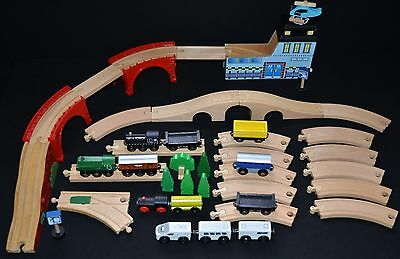 Wooden Train Track Bundle with Trains and Accessories