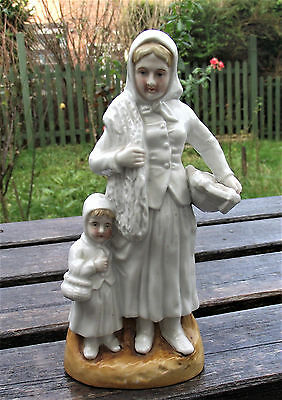 vintage porcelain figurine mother and daughter