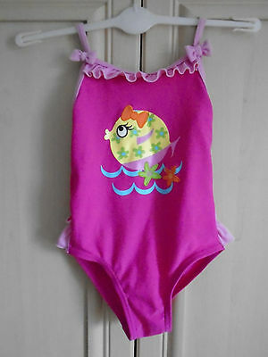 girls pink swimming costume age 18/24 months by george