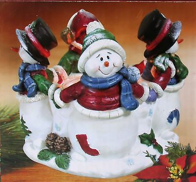 SNOWMAN votive CANDLE HOLDER with CANDLE Christmas Winter  NEW !!