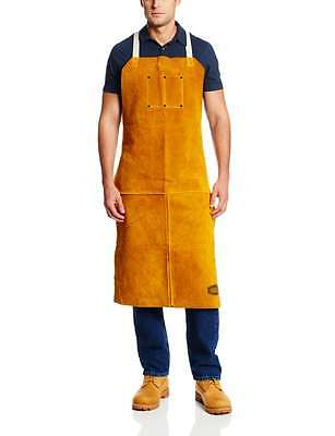 "IRONCAT 7010 Heat Resistant Leather Apron, 24"" W x 42"" H , Tan NEW 1 PACK"