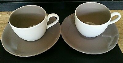 Poole Pottery Mushroom And Sepia Twintone Coffee Cup And Saucer