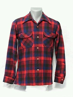 Pendleton Plaid Wool Shirt Overshirt Men's Small S Vintage Made in U.S.A.