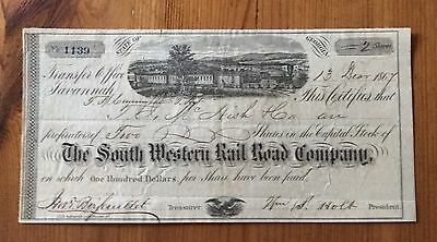 1864 The South Western Rail Road Company Stock