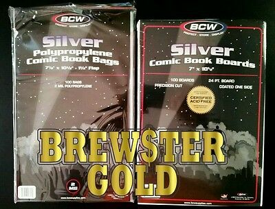 100 BCW, SILVER AGE, Comic Book Bags and Boards / Sleeves - NEW, Acid FREE