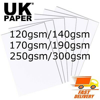 A2 A3 A4 A5 A6 SMOOTH WHITE CARD STOCK BLANKS CRAFT PAPER DECOUPAGE 120 - 300gsm