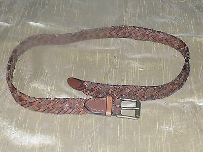 Brand new mens' Armani Exchange brown braided leather belt, size Small