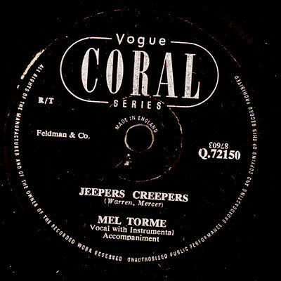 MEL TORME -VOCAL-  Jeepers Creepers / Mountain Greenery  Schellack  78rpm X2521