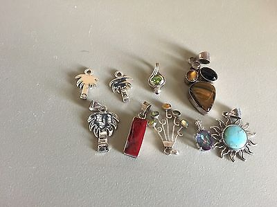 Lot Of 8 Assorted Women's Stone And Sterling Silver Pendants