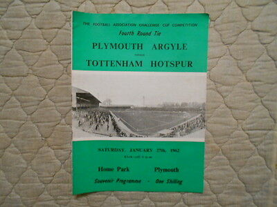 Plymouth V Tottenham Fa Cup 4Th Round Souvenir Match Programme 1962