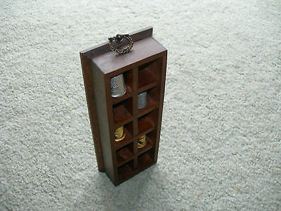 WOODEN THIMBLE DISPLAY CABINET  10 Sections ~ 4 Metal Pewter Thimbles Wall Mount