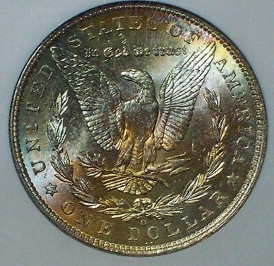 1904 O NGC MS 63 CAC STICKER SILVER Morgan Dollar RAINBOW REVERSE Lusterous $1