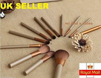 12 PCS PROFESSIONAL MAKE UP BRUSH SET IN GOLD COLOUR - Quality Gauranteed