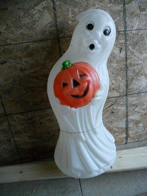"""Blowmold Outdoor Lighted Lawn Decor 33"""" Halloween Ghost With His Own Pumpkin"""