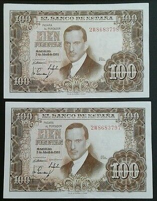 SPAIN _ 100 pesetas x 2 consecutive banknotes _ Series 2W_ 1953 _ p145 _ unc
