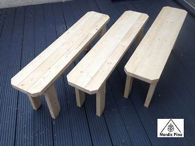 Wooden Bench 4ft Solid Pine Dining Kitchen Garden Hand Crafted