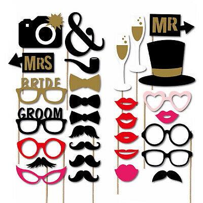 30 Party Props Photo Booth Moustache Birthday Engagement Wedding Funny B30076