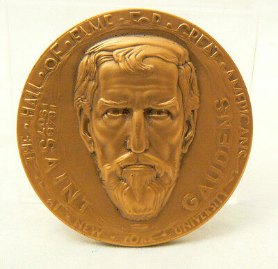 NYU Hall of Fame Augustus Saint Gaudens Bronze Medal Coin in Box