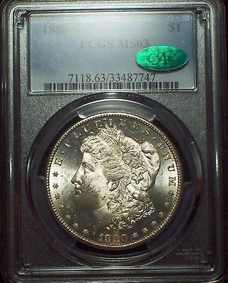 1880 S PCGS MS 63 SILVER Morgan Dollar CAC STICKER - MIRROR Surfaces Bright $1