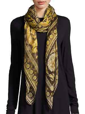 Versace Large Cashmere Shawl/Scarf Marrone Brown and Gold IFO14R1 IT01039 I7084