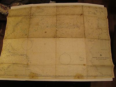 Chart Antique Navigation North Atlantic Ocean Southern Sheet Used for Navigation