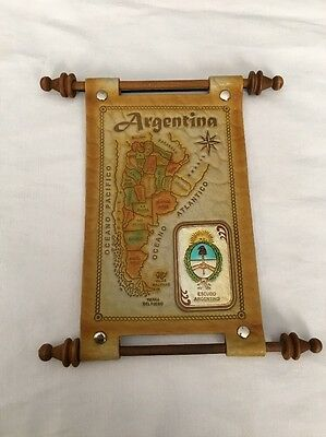 Argentina Leather Map Scroll