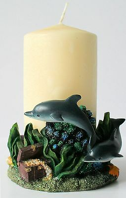 DOLPHIN Pillar CANDLE HOLDER  NEW IN BOX