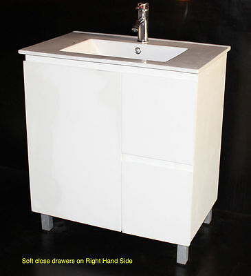 Bathroom Vanity 700x460mm R Freestanding Poly with Ceramic Basin. white Colour