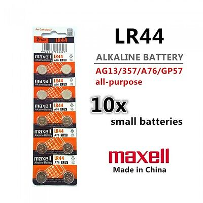 10 Pieces Maxell LR44 (A76/AG13) 1.5V Alkaline Button Cell Batteries
