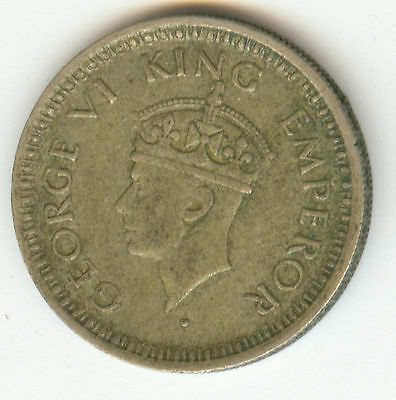 India 1944 Silver One-Quarter Rupee!!! Nice!!!