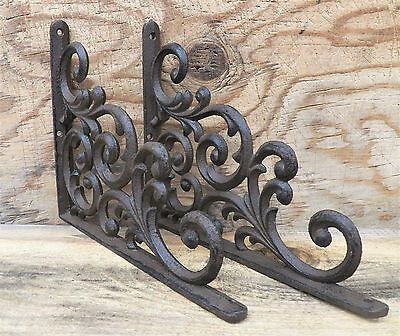 Lot/Set 2 Antique-Style Cast Iron Fancy 9.25 x 7.5 x .75 inch SHELF BRACKETS Han