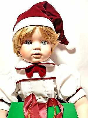 "Dynasty Collection Vintage Michaels First Christmas 10"" Sitting Porcelain Doll"